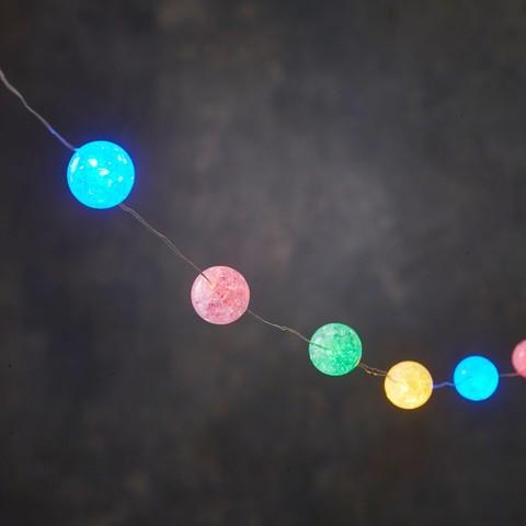 Новогодняя светодиодная гирлянда с разноцветными шариками мультиколор на батарейках