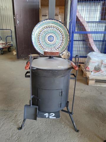 Комплект 12 литров, печь с трубой и дверцей + казан, шумовка, половник, ляган, кочерга, совок