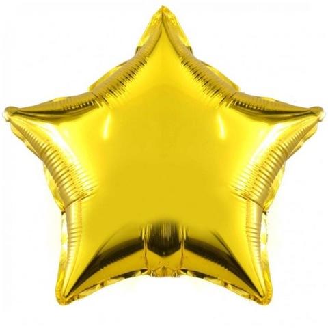 Фольгированный воздушный шар звезда, золото