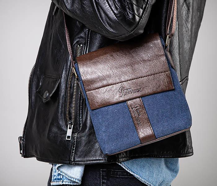 BAG561-3 Сумка из текстиля синего цвета с ремнем