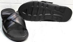 Мужские кожаные сандали шлепанцы летние Brionis 155LB-7286 Leather Black.