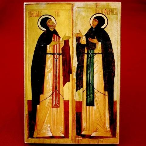 Икона святые Петр и Феврония Муромские 16 век на дереве на левкасе мастерская Иконный Дом