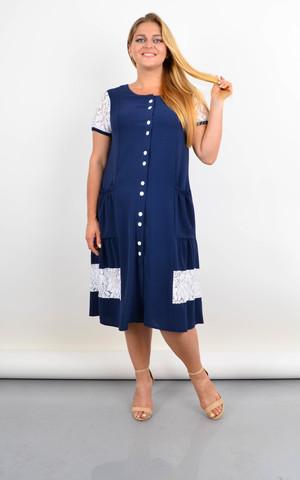 Сантана. Літнє плаття-халат великого розміру з мереживом. Синій.