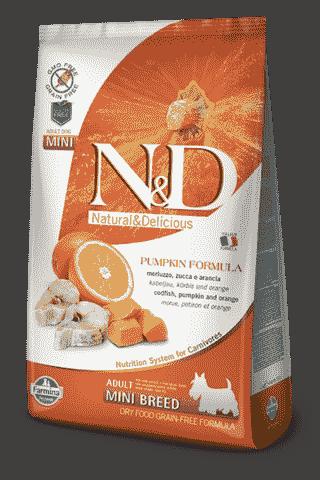 Farmina N&D Pumpkin Codfish & Orange Adult Mini сухой беззерновой корм для собак мелких и карликовых пород треска тыква апельсин