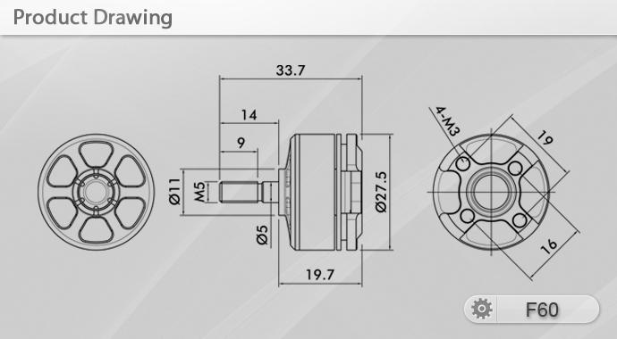 Чертёж мотора T-Motor F60 KV2200 v2.0