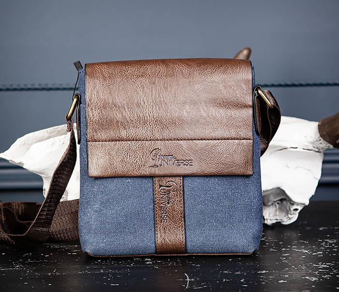 BAG561-3 Сумка из текстиля синего цвета с ремнем фото 03