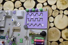 Бизиборд стандарт 50х65 см с ксилофоном Фиолетово-Мятный универсальный