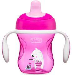 Chicco. Поильник Training Cup (полужесткий носик), 200 мл, 6+, розовый