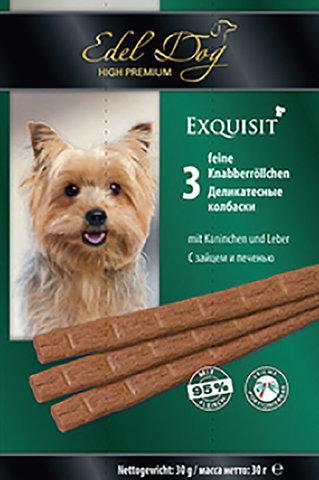 Лакомство Edel Dog деликатесные колбаски с зайцем и печенью для взрослых собак всех пород