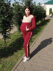 Костюм для беременных и кормящих цвет бордо/беж
