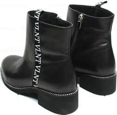 Черные кожаные полусапожки женские без каблука Jina 6845 Leather Black.