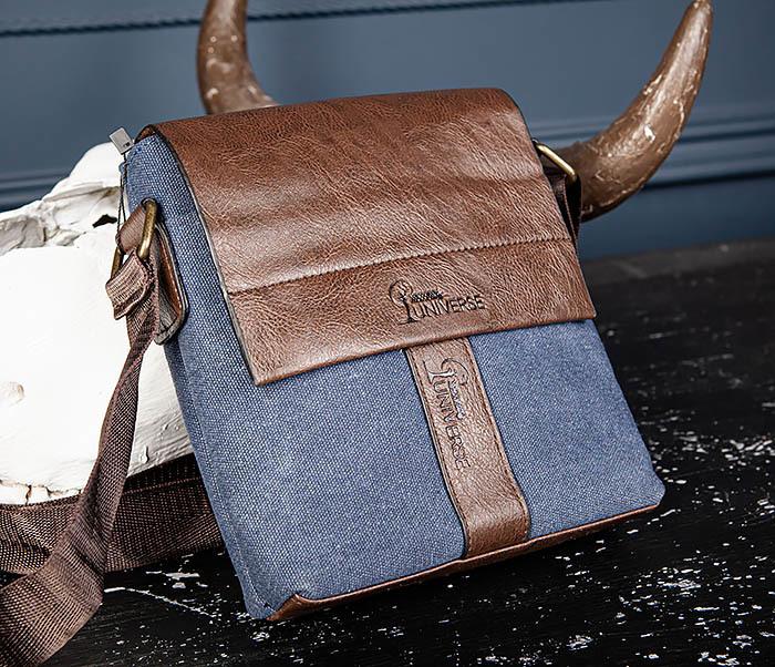 BAG561-3 Сумка из текстиля синего цвета с ремнем фото 04