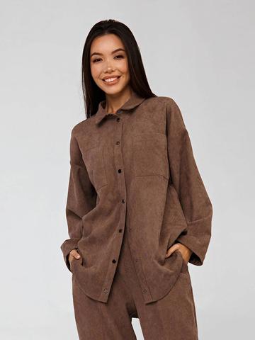 Вельветовая рубашка в рубчик коричневая YOS