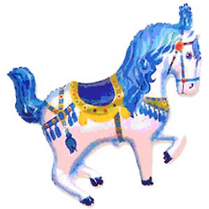 Фольгированный шар Лошадь цирковая голубая 90 X 98см