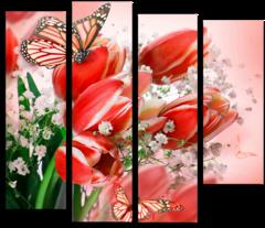 "Модульная картина ""Красные тюльпаны"""