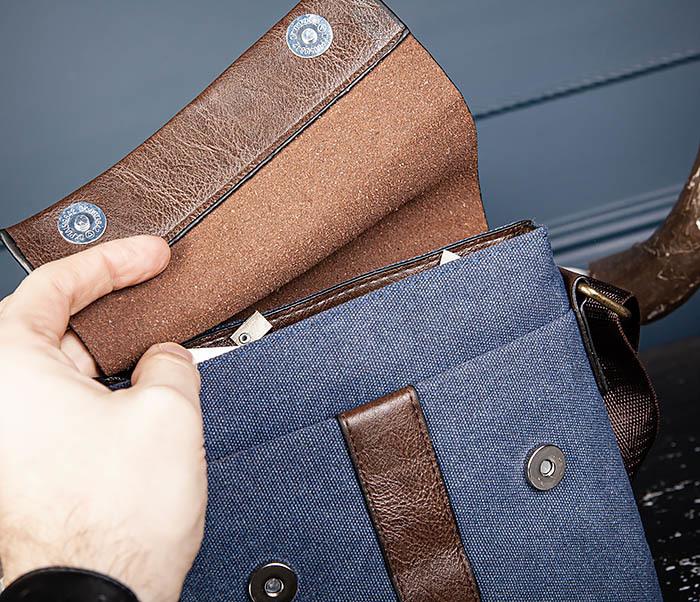 BAG561-3 Сумка из текстиля синего цвета с ремнем фото 05