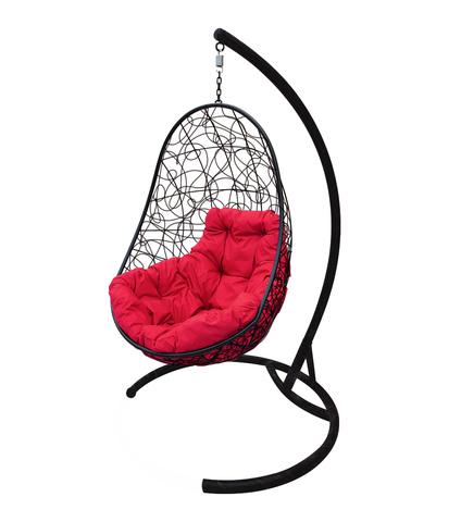 Кресло подвесное Parma black/crimson
