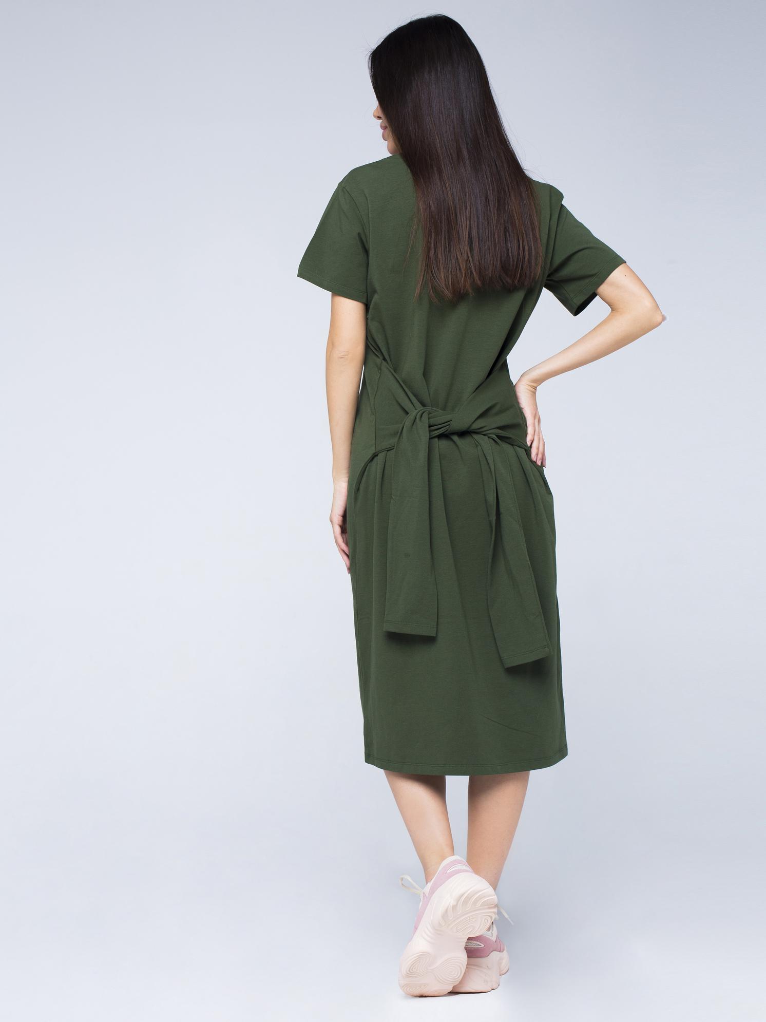 Платье-футболка хлопковое оливкового цвета YOS от украинского бренда Your Own Style