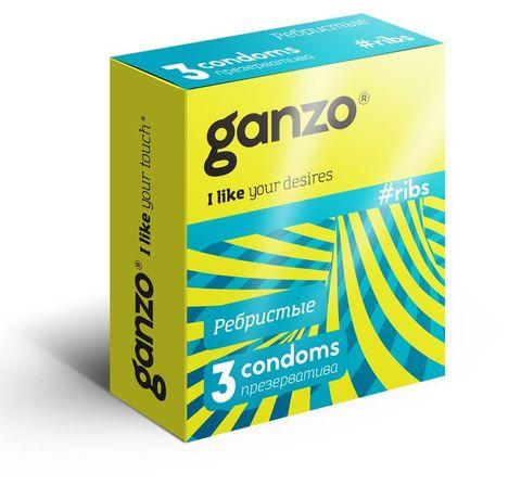 Презервативы с ребристой структурой Ganzo Ribs - 3 шт.