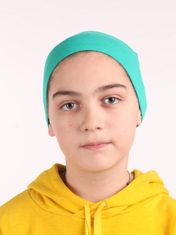 Детская зеленая шапочка из вискозного трикотажа