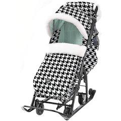 Санки-коляска Nika Ника детям 7-5, чёрно-белые с мятным, гусиная лапка.