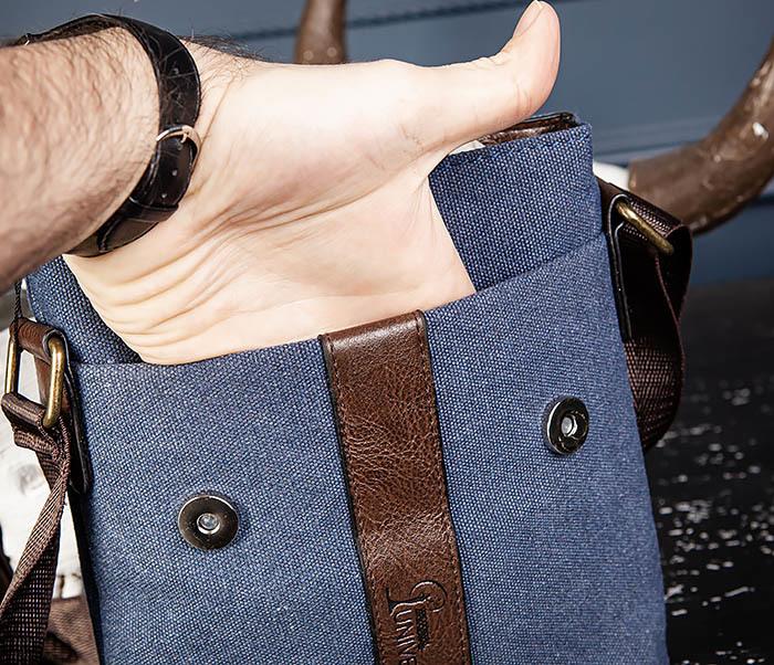 BAG561-3 Сумка из текстиля синего цвета с ремнем фото 06
