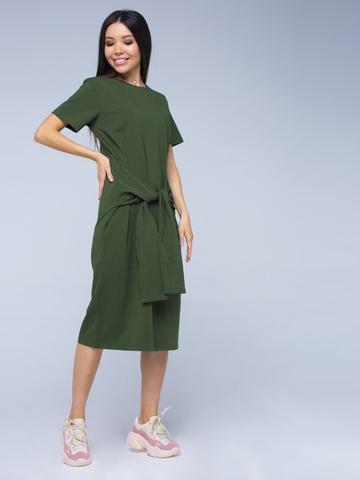 Платье-футболка хлопковое оливкового цвета YOS