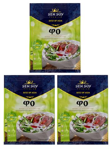 Основа для куриного супа с лапшой FO Фо Sen Soy Premium 3 штуки по 80 гр 1кор*1бл*3шт