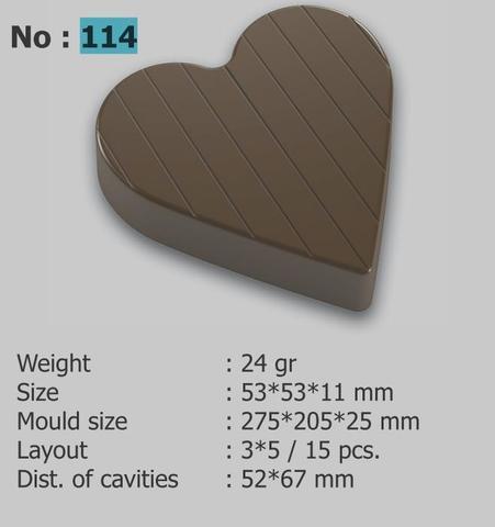 114 Поликарбонатная форма для изготовления шоколадных конфет в виде сердца