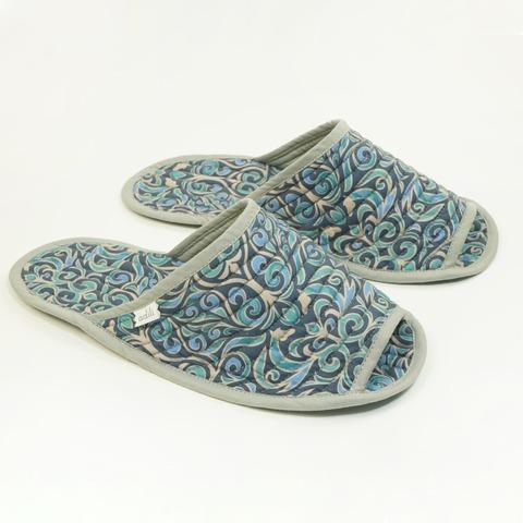 Тапочки для дома мужские синие (принт 70-01) Adili