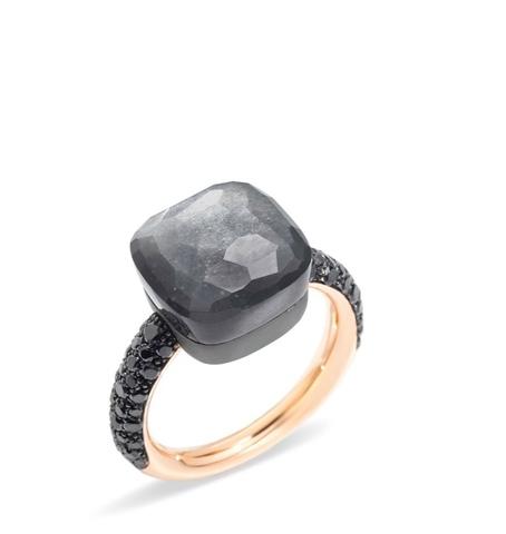 60322- Кольцо Caramel - из золоченого серебра с черным, матовым кварцем (lux)