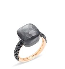 60322-kolco-caramel-iz-zolochenogo-serebra-s-chernym-matovym-kvarcem-lux