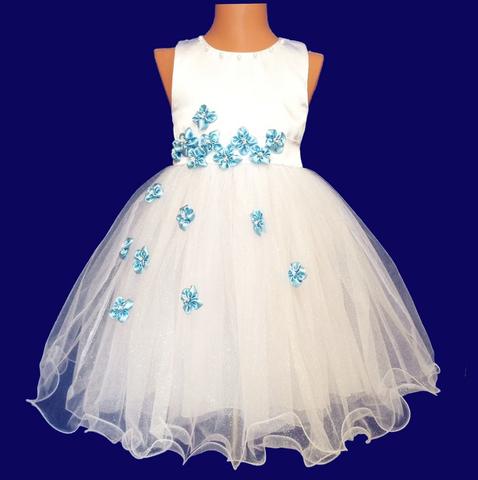 Платье для малышек с голубыми цветами