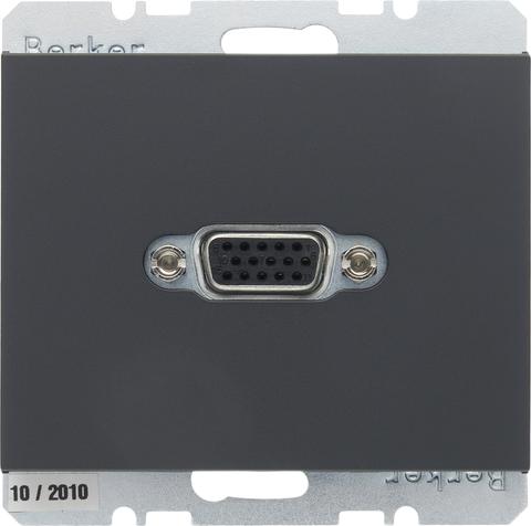 Розетка VGA (подключение к собранному кабелю). Цвет Антрацит. Berker (Беркер). K.1. 3315407006. Цвет Антрацит. Berker (Беркер). K.1. 3315407006