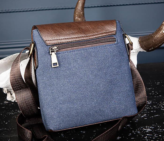 BAG561-3 Сумка из текстиля синего цвета с ремнем фото 08