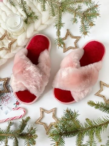Меховые тапочки розовые с перекрестными шлейками и текстильной стелькой красной (из наличия)