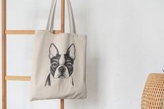 Сумка-шоппер с принтом Собака, Французский бульдог (Dog) бежевая 005