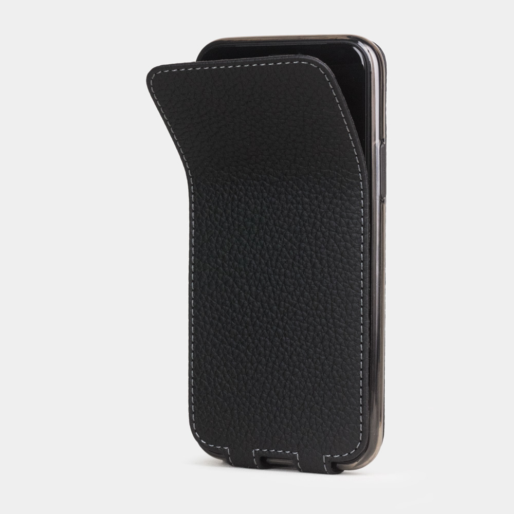 Чехол для iPhone 11 Pro Max из натуральной кожи теленка, цвета черный мат