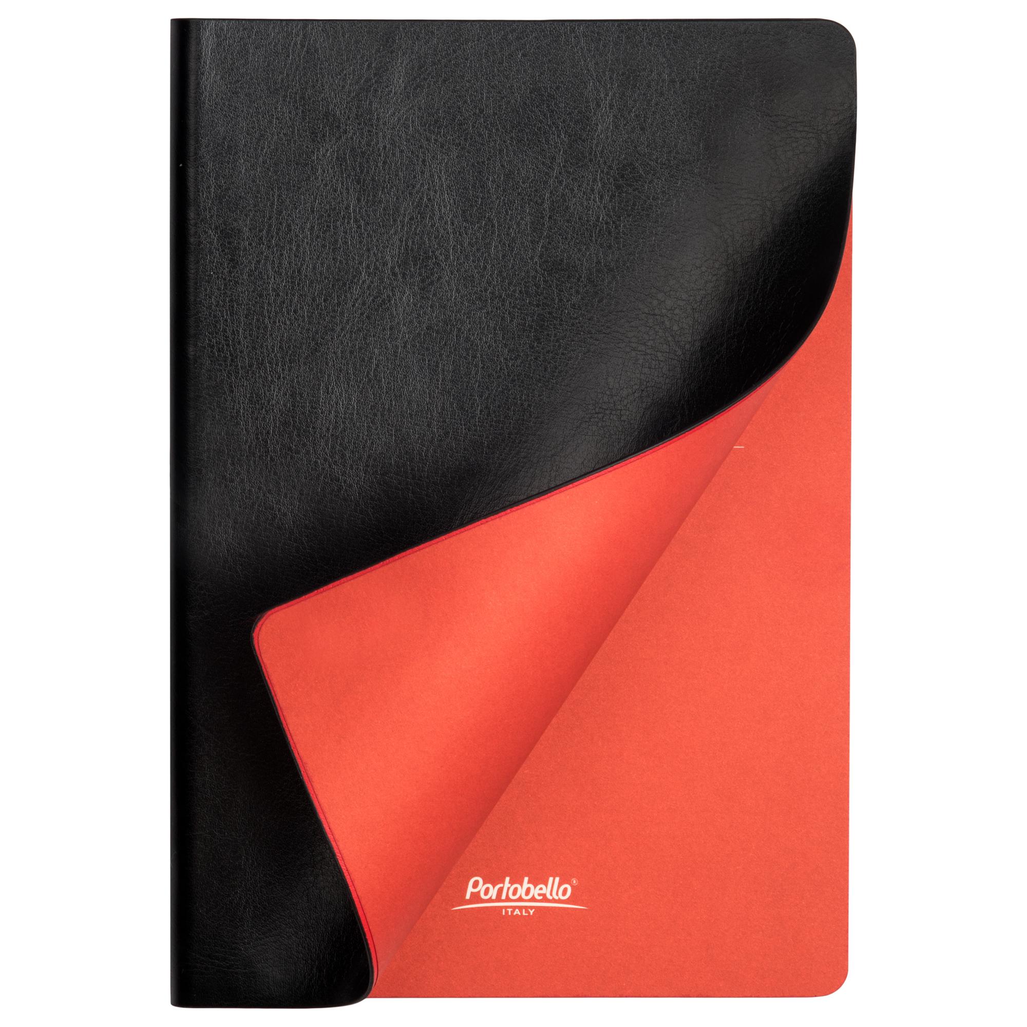 Ежедневник недатированный, Portobello Trend, River side, 145х210, 256 стр, черный/красный, (красный срез)