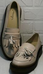 Женские стильные туфли лоферы натуральная кожа Markos S-6 Light Beige.
