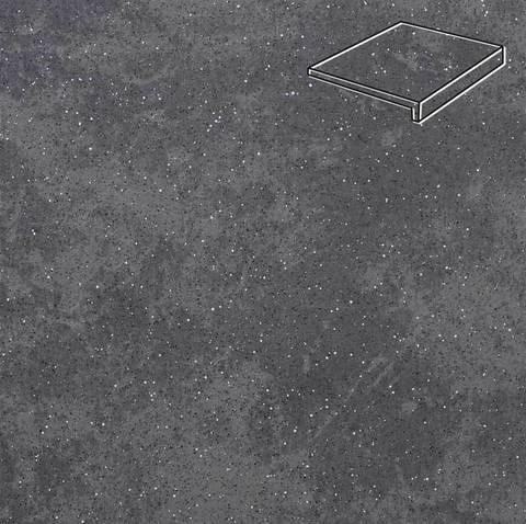 Stroeher - Keraplatte Roccia 845 nero 294x175x52x10 артикул 4817 - Клинкерная ступень, прямой угол