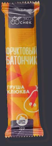Батончик фруктовый Эко Снек Груша, Клюква 50г