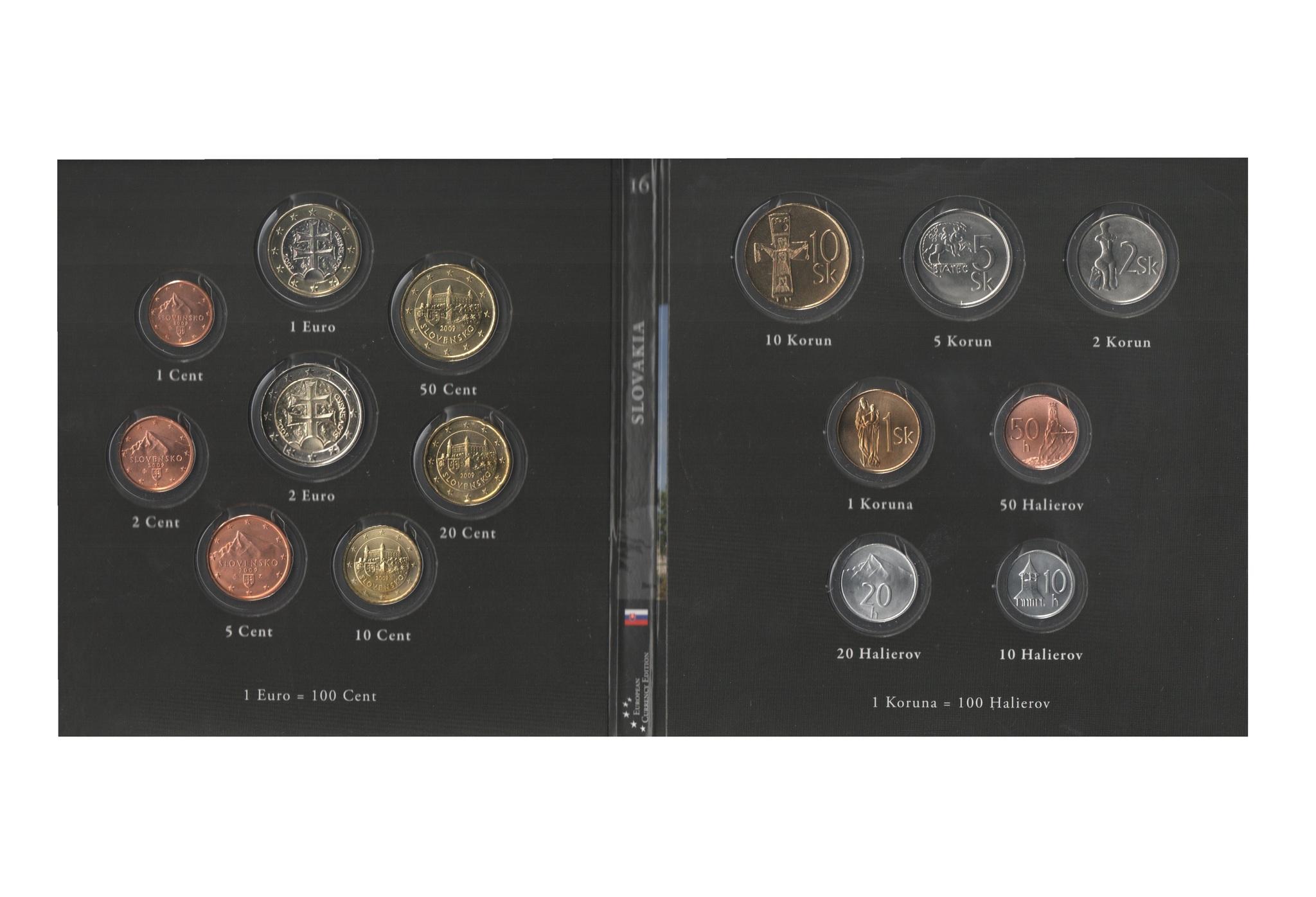 Набор монет 20 лет Евросоюзу. Словакия