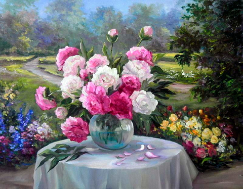 Алмазная Мозаика 40x50 Букет цветов на улице