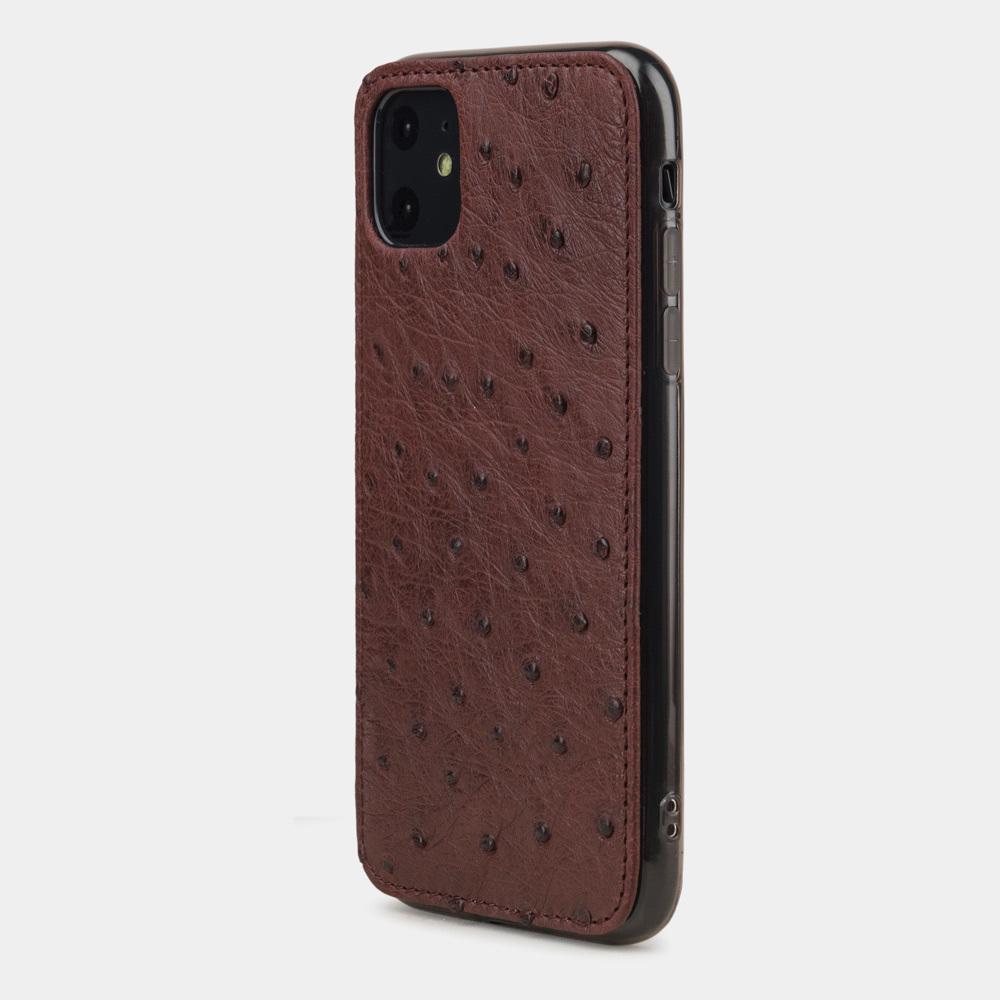 Чехол-накладка для iPhone 11 из натуральной кожи страуса, бордового цвета