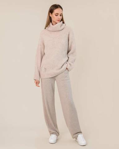 Женский свитер бежевого цвета из шерсти - фото 5