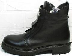 Черные грубые ботинки кожаные женские Tina Shoes 292-01 Black.