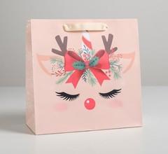 Пакет ламинированный квадратный «Сказочного года», 22 × 22 × 11 см, 1 шт.