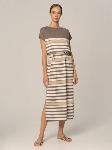 Женское платье в полоску молочно-коричневого цвета из вискозы - фото 2