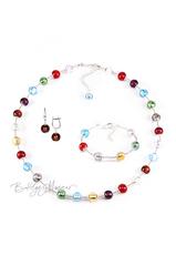 Комплект Carnavale Argento (коричневые серьги на серебре, ожерелье, браслет)